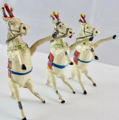 set of three Timpo rearing Liberty horses