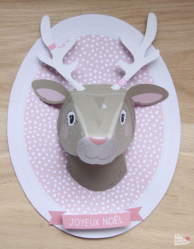 Créer un trophée animal en papier pour Noël