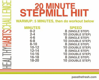 20 minute stepmill HIIT that will kick your booty! Short, but tough! Other great workout ideas in this post. #HIIT #HealthyHabitsChallenge #fitfam #stepmill #weightloss #workout