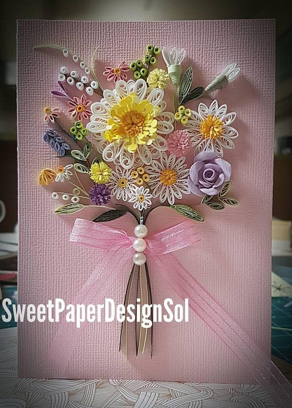 Paper Quilling Art. Spring flower bouquet card. Mother\'s day Gift ...