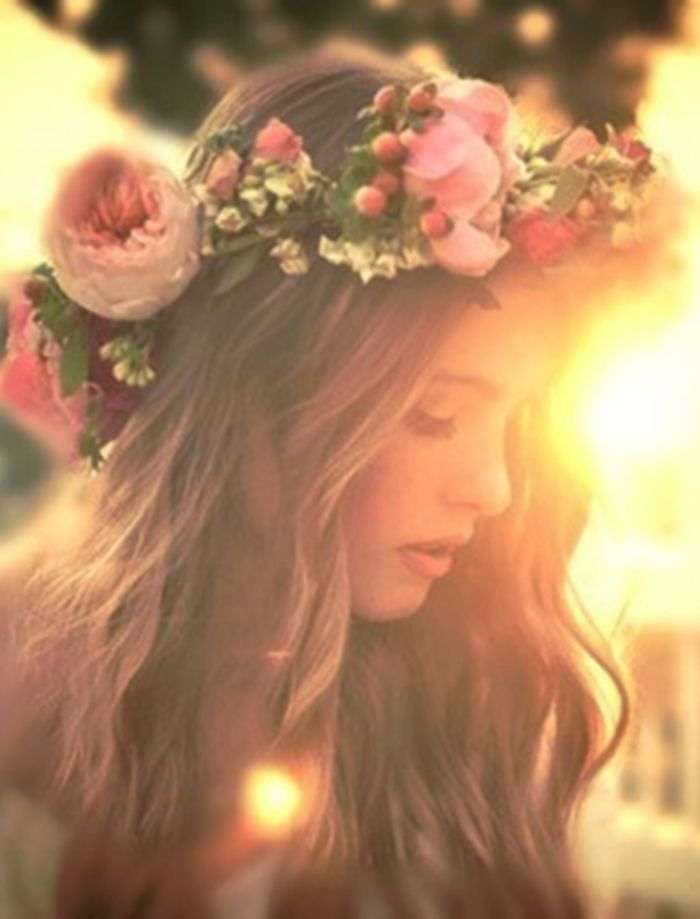 sunset with flower wreath in hair