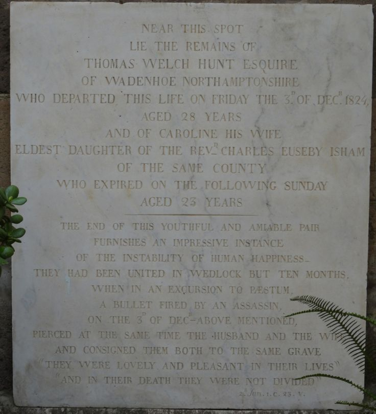 The memorial plaque at Naples to Thomas Welch Hunt and his young bride, Caroline.