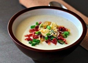 Potato cream soup with bacon