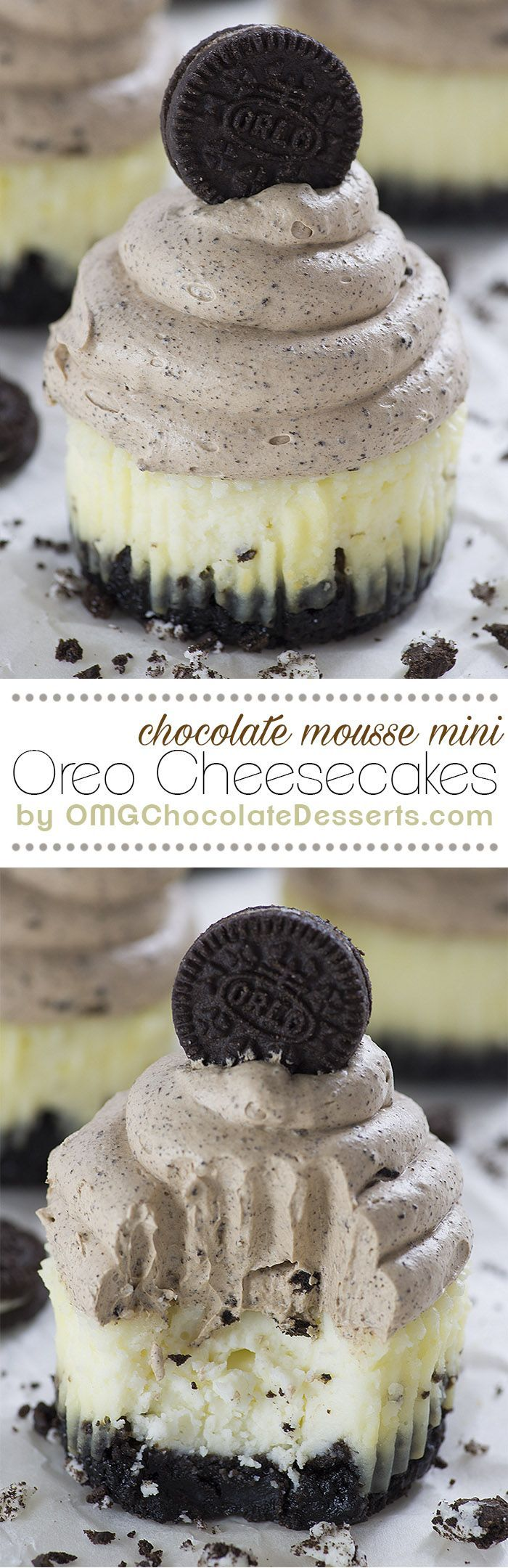 Mini Cheesecakes with thick Oreo cookie crust topped with light and creamy chocolate mousse - Chocolate Mousse Mini Oreo Cheesecakes.