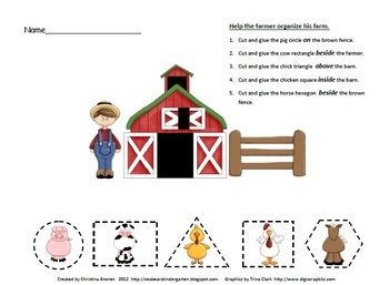This is a free sheet created by Christina Aronen. It has a farm theme and includes directions for your student to cut and glue animals in geometric...