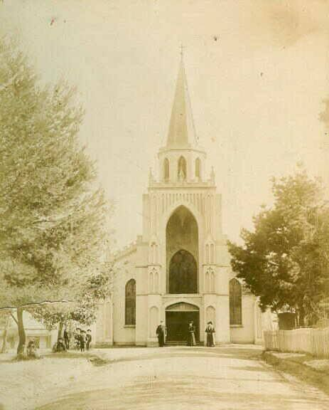 St. Peters church. Built c1839. The steeple was removed in 1963. This photo from 1870.