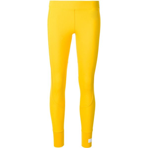 Adidas By Stella Mccartney logo patch leggings ($71) ❤ liked on Polyvore featuring pants, leggings, yellow leggings, adidas leggings, logo pants, adidas pants and adidas trousers