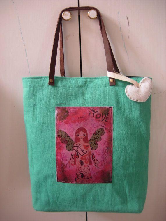 She Spreads Love Everywhere art bag in sea foam/light by eltsamp, $58.00
