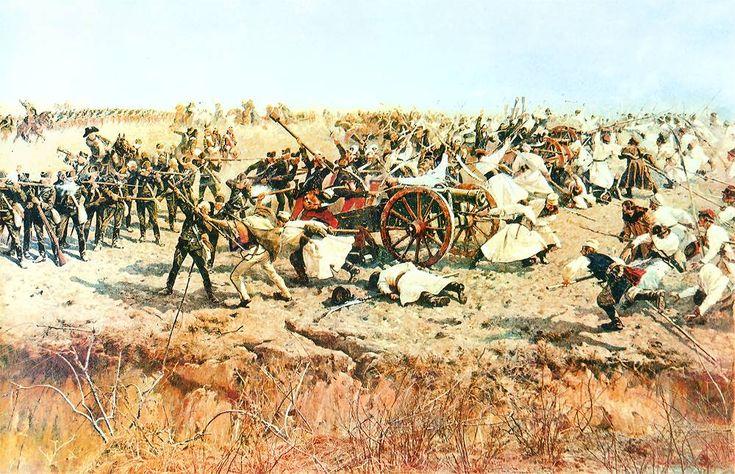 Косинеры достигли русских позиций (в центре - герой Войцех Бартош, его шапка-кракуска уже на пушке):
