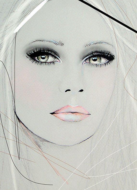 Neva 2 - Fashion Illustration Portrait Art Print par Leigh Viner