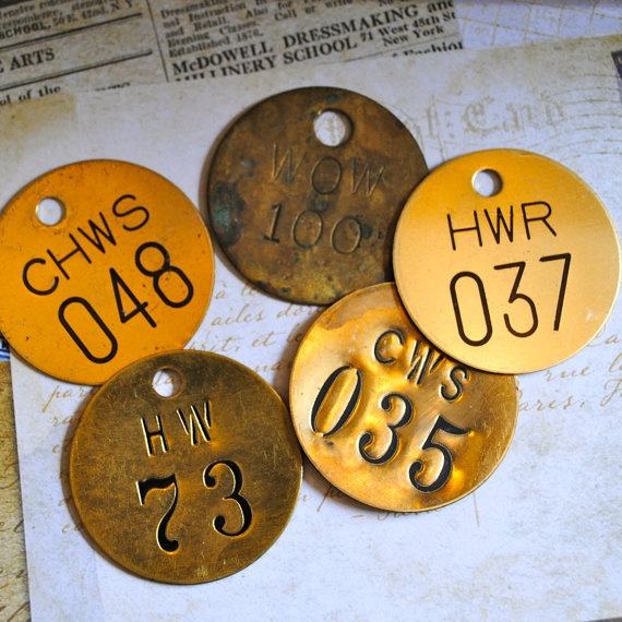 Vintage Brass Tags 104