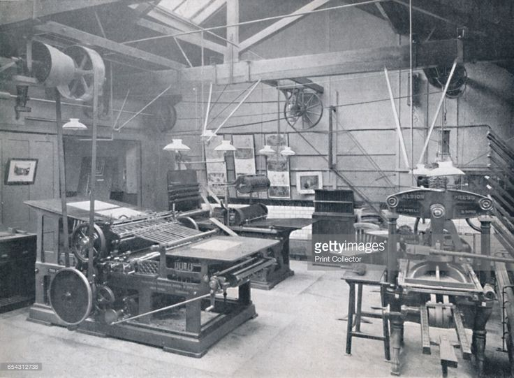 St. Bride Foundation School. Letterpress Machine Room, 1917. In 1891, St Bride Foundation was established to provide a social, cultural and recreational centre for Londons Fleet Street and its burgeoning print and publishing trade. From The British Printer Vol. XXX. [Raithby, Lawrence & Co., Ltd., London and Leicester, 1917]