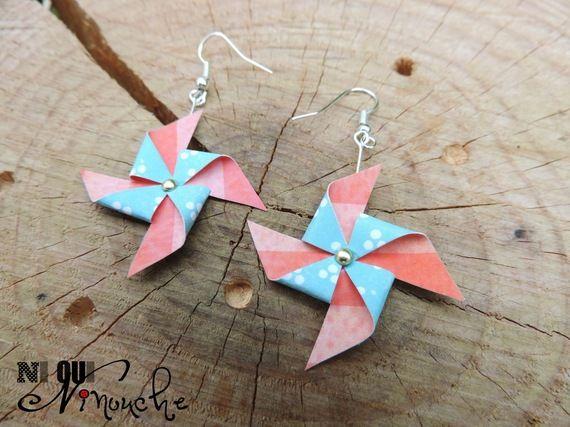 """Boucles d'oreilles origami Moulin à vent """"Rockabilly"""" (papier)"""