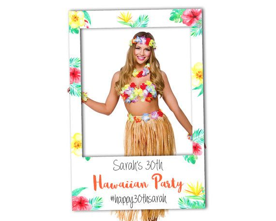 DIY Hawaiian Party Photo Booth Prop (Digital File Only) Luau Party Props, Hawaiian Party Decoractions, Pool Party