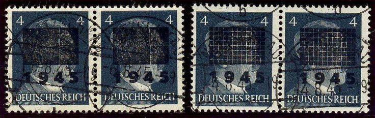 German Local Issue, Netzschkau-Reichenbach 1945, 4 Pfg., Typ I und II b, je im waagerechten Paar, gestempelt Pracht, gepr. Zierer BPP (gest., Mi.-Nr.3I, 3IIb/Mi.EUR 110,--). Price Estimate (8/2016): 35 EUR.