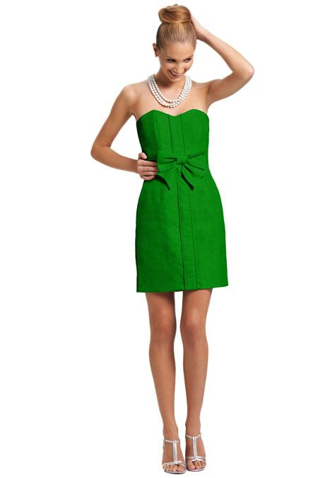 a kelly green bridesmaid dress with a bow by kirribilla