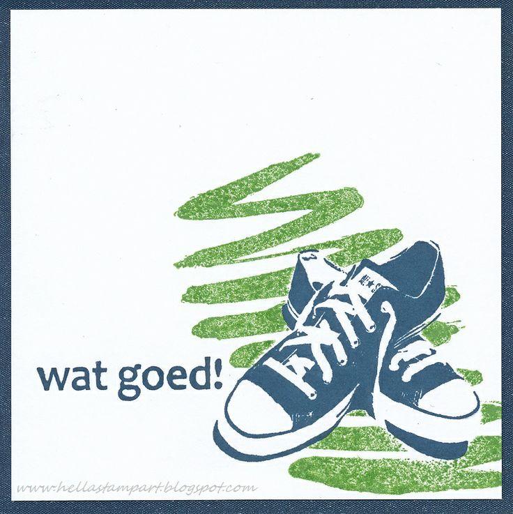 een kaart met een leuke tekst van mijn eigen lijn bij www.leukestempels.nl En natuurlijk kon ik het niet laten om weer de sneakers te gebruiken van DeepRed en deze gecombineerd met de penseelstreek van de nieuwe Darkroomdoor set Brushstrokes.