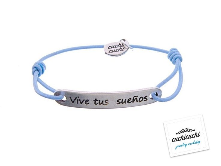 Blue custom elastic bracelet with a name, date or your favorite pharase engraved - The engraving is included - 925 Silver -Handmade in Spain by CuchiCuchiSHOP on Etsy
