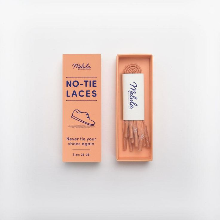 Melula - No-Tie Laces (4 pairs in 4 different sizes included per box) / Coral