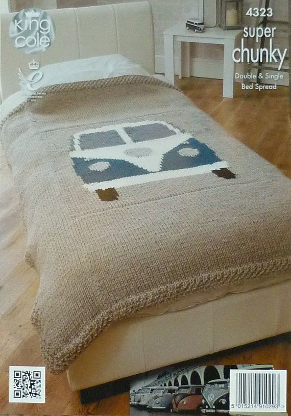 Knitting pattern for VW Campervan Single Bed Throw/Blanket/Bedspread in Super Chunky by King Cole (No. 4323). Includes instructions for