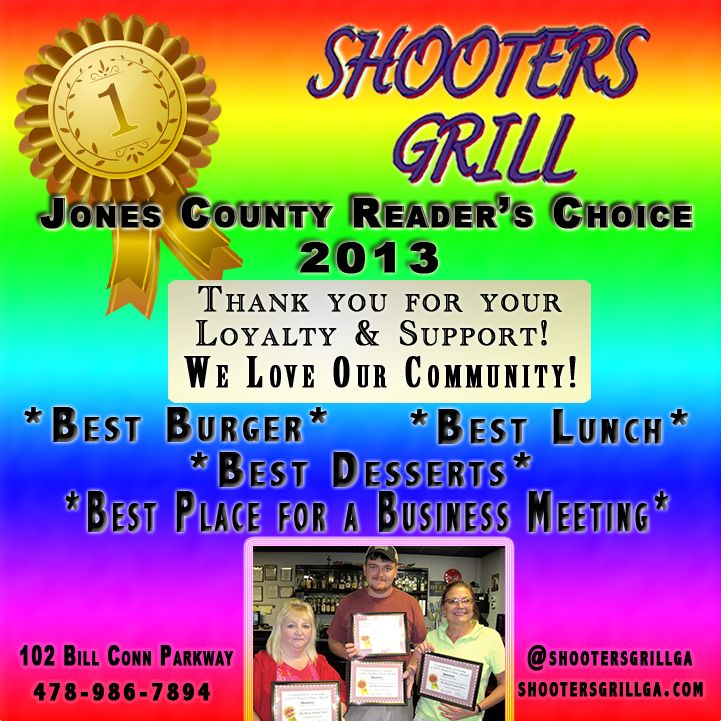 """Thank you Jones County! Shooters Grill appreciates YOU! You are so much more than others call just """"Customers""""- You are our Friends, Our Family. We love hearing about you, your children, your jobs, your day and your life and allowing us to be a part of it all. You make a conscious choice to join us every day and every night, and that's why we're here- We come to work looking forward to seeing you. Thank you again for your continued support and loyalty since 2008! We are truly Honored!"""