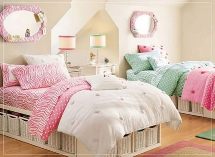 Twin beds girls 39 rooms decor twin girls with chic bed for Twin girls bedroom ideas