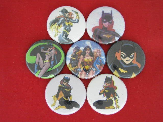 BATGIRL FEMALE SUPER HERO TV COMIC NEW SET  7 Select a-Size of Pinback Buttons  #wtnabrand