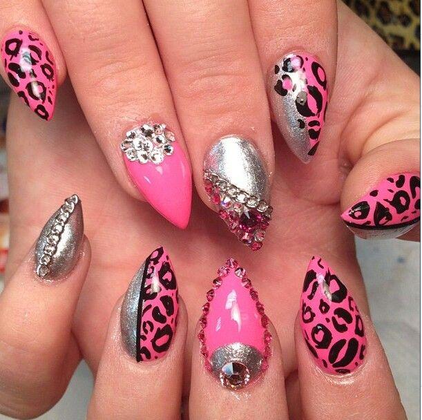 Pink Leopard stiletto nails