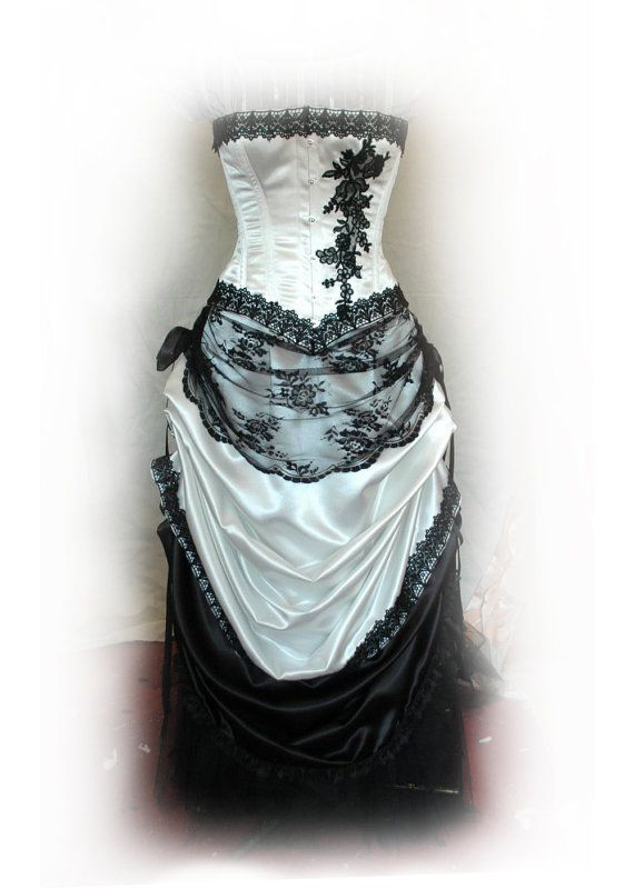 Virginia  Ivory and Black wedding gown by BoundByObsession on Etsy