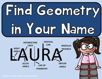 Geometry Activity - Find Geometry in your Name!  Students LOVE to look for the geometry in their own names! Geometry terms include: Parallel Lines, Perpendicular Lines, intersecting Lines, Right Angle, Acute Angle, Obtuse Angle, Right Triangle, Isosceles Triangle, Equilateral Triangle, Scalene Triangle, Congruent Figures, Similar Figures, Symmetry, Vertical Line & Horizontal Line.