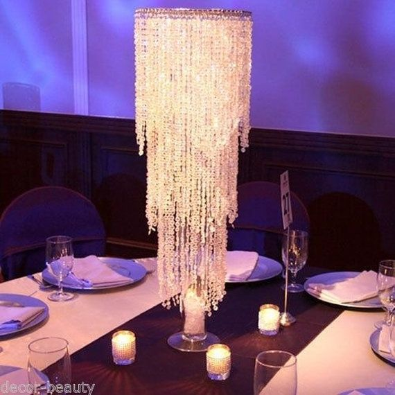 Tall Wedding Chandelier Centerpiece With Stand Acrylic Crystal Beaded Event Decor Reception Bling Clearance