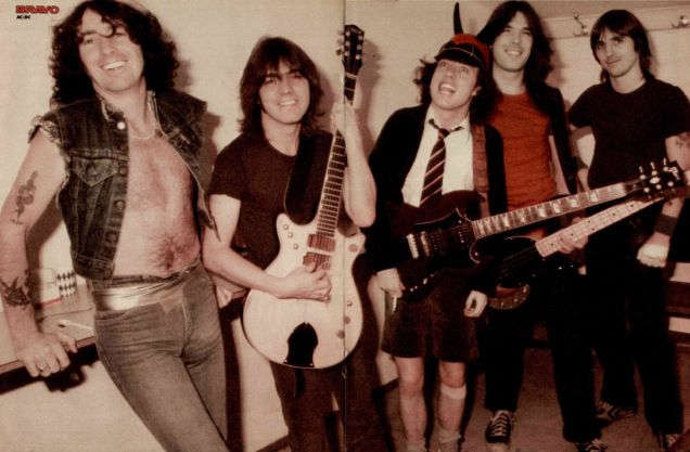 AC/DC, still with Bon Scott who had died eight months earlier Centre-spread poster in Bravo 1 November 1980