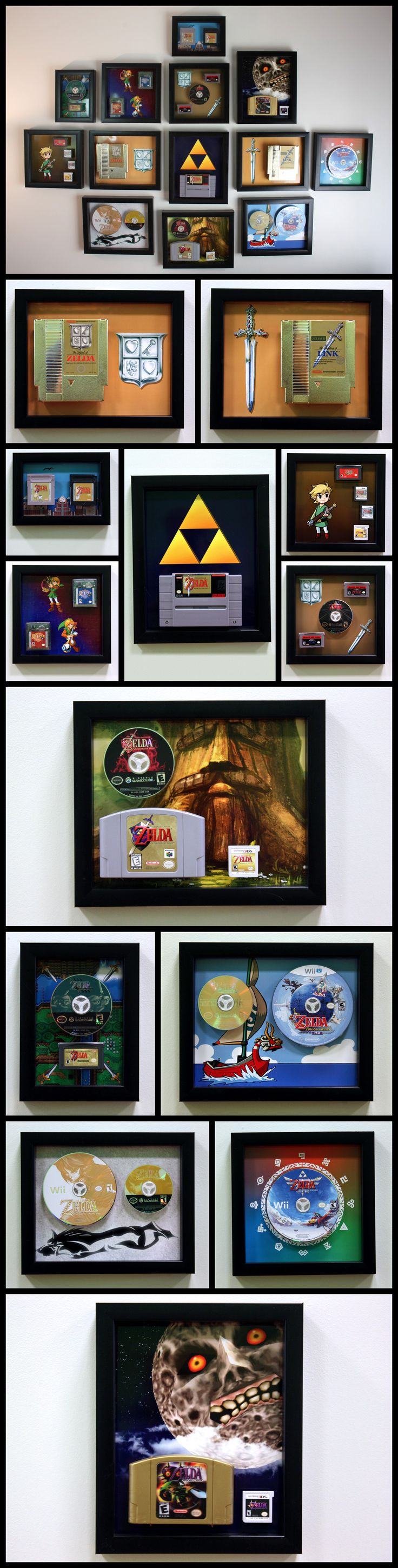 The entire Legend of Zelda video game series, mounted on the wall using custom 3D printed cartridge mounts. Creative display. http://linkedtothewall.com/ I want this so bad