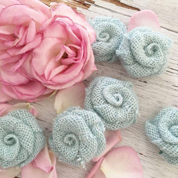Toile de jute bleu sarcelle doux fleurs par DenaDanielleDesigns