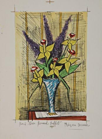 Bernard BUFFET (1928-1999) Bouquet de jonquilles et lilas Lithographie Sold 800€ #artauction