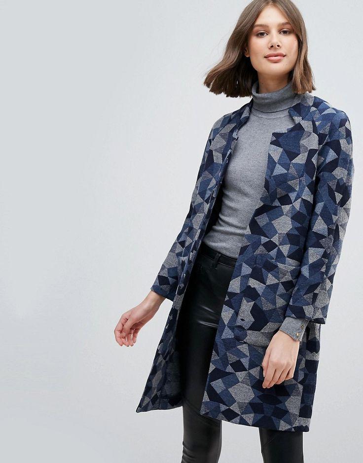 Pepe Jeans Geometrie Wool Blend Oversized Coat - Multi