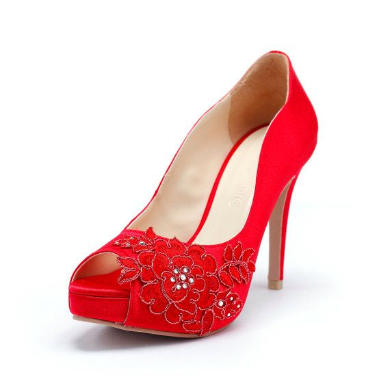 Hey, I found this really awesome Etsy listing at https://www.etsy.com/listing/176678999/red-wedding-heels-with-red-flower