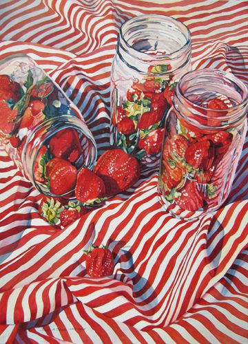 """Strawberry Jamming Too, 29"""" x 21"""" by Susan Struller, Transparent Watercolor Society of America 2014 Exhibition"""