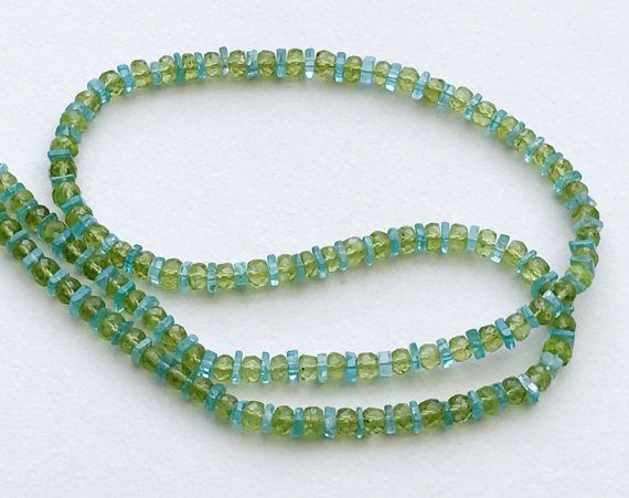 Peridot & Neon Apatite Necklace Faceted Peridot by gemsforjewels