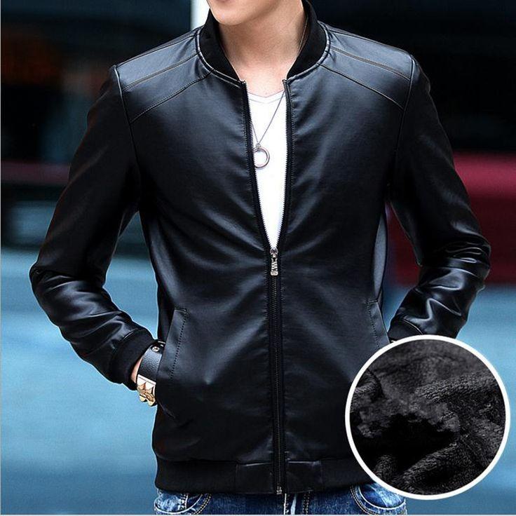 2015 New Winter Motorcycle Pu Leather Jacket Mens Fashion Thick Red Leather Jacket Mens Fitted Leather Jacket Plu Size M-4XL