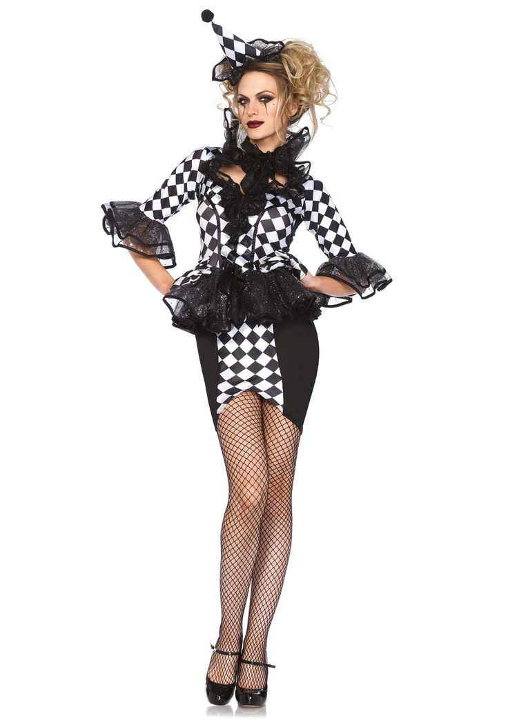 Disfraz arlequín para mujer: Este disfraz de arlequín para mujer incluye vestido, collar y cofia (medias, zapatos y guantes no incluidos).El vestido es de cuadros blancos y negros. La cintura y los puños tienen...