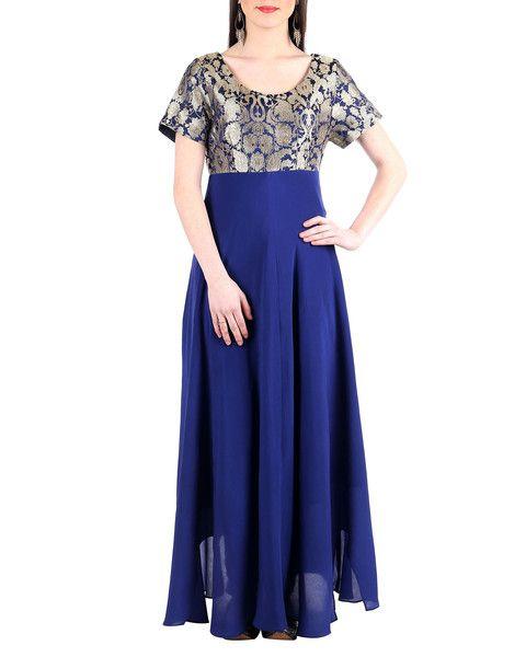Navy-Blue Banarsi Silk-Crepe Dress- Rs. 8450