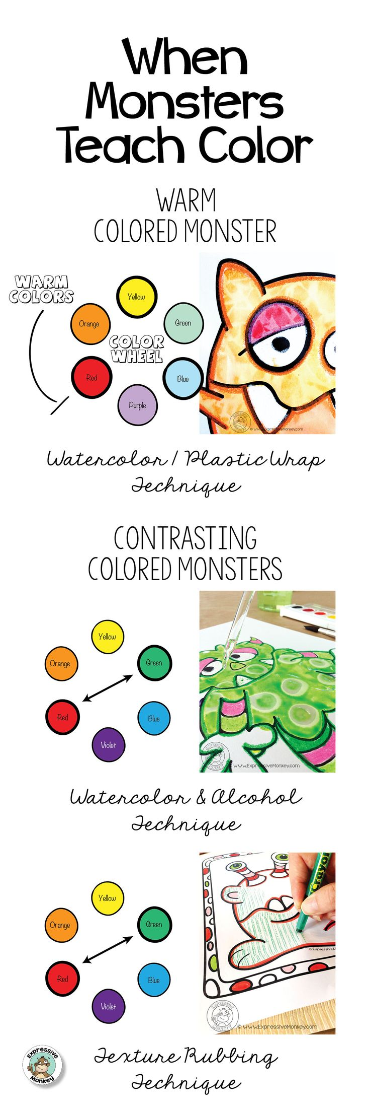 When Monsters Teach Color you have an engaging lesson that also can explore art techniques and use of color theory. - Art Lesson Ideas - Monster Art Lesson - Color Theory