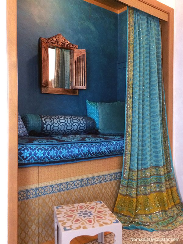 Indian-Moroccan Closet Nook boho chic patterns