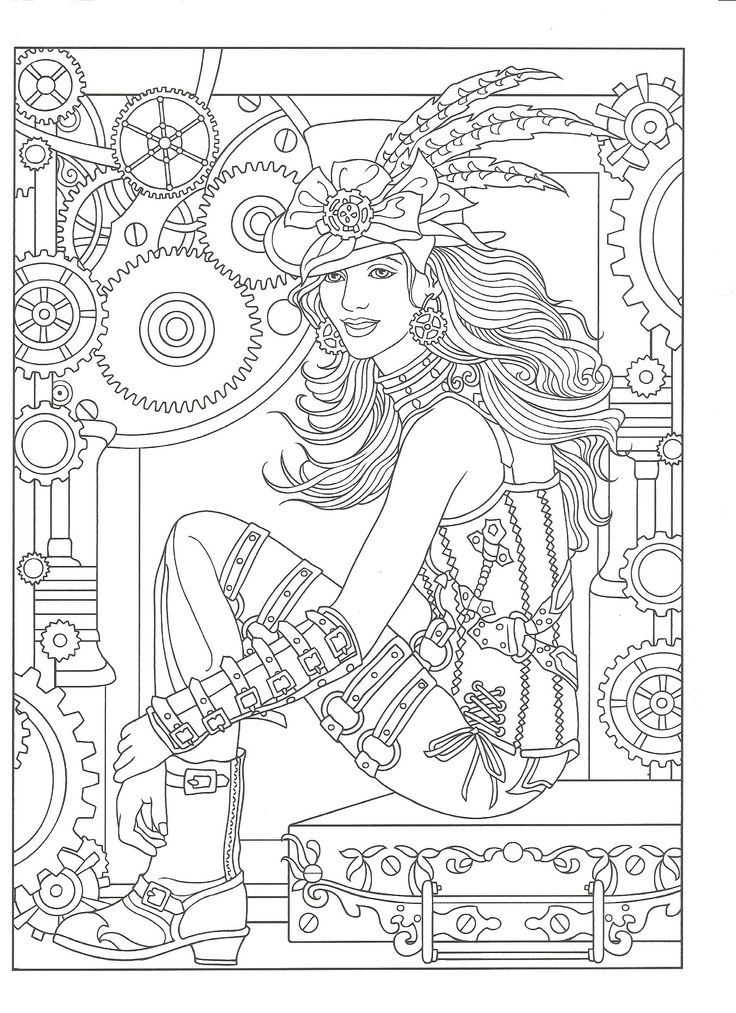 adult coloring page from creative haven steampunk fashions coloring book dover publications artwork by