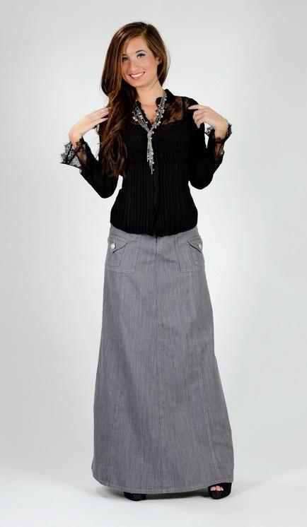 Lady Gray Long Denim Skirt