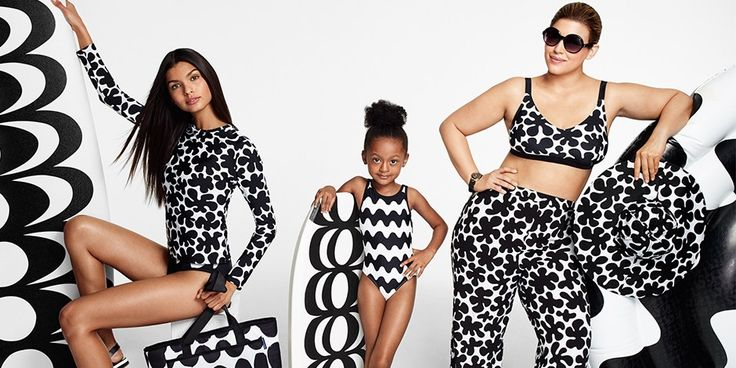three women of various ages and shapes wearing black and white patterned swimsuits