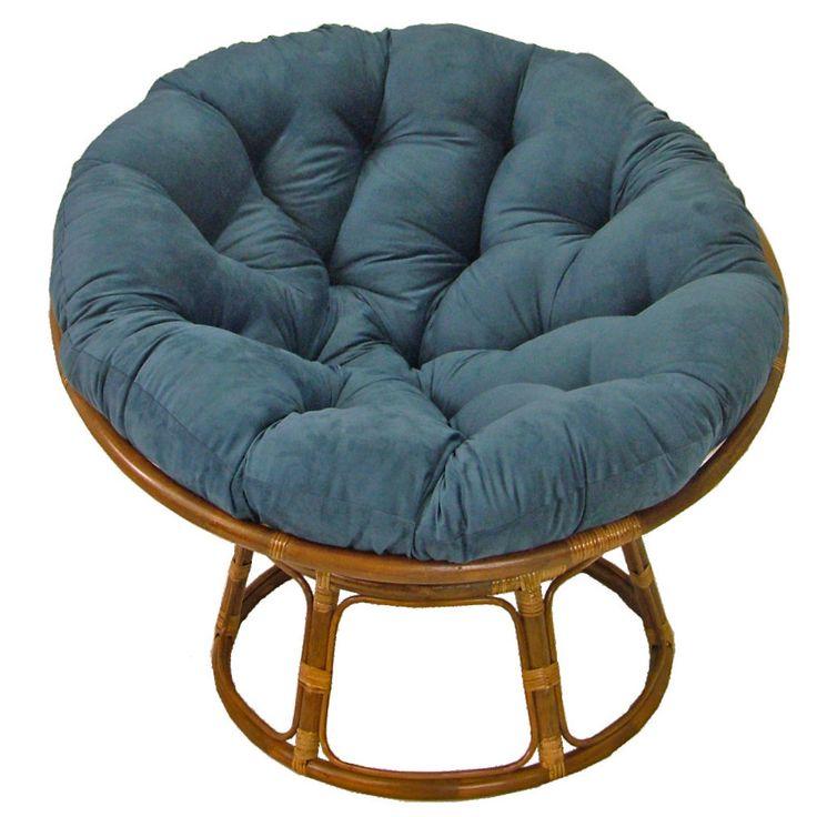 International caravan 42 rattan papasan chair with for Black papasan chair cushion