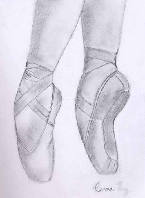 Beautiful Pointe Shoe Sketch ~~ I wanna draw something like this soon.(: