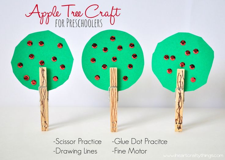 Clothespin Apple Tree Craft for Preschoolers - Great Fall Craft for kids - www.iheartcraftythings.com